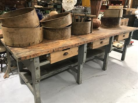 vintage industrial european workbench table counter