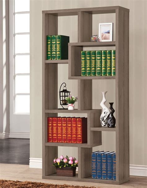 geometric bookcase weathered grey bookcases home office furniture home office