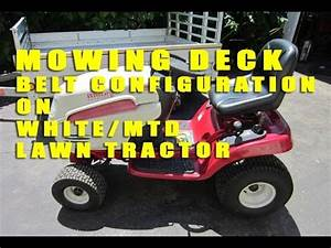 White  Mtd Lawn Tractor Mowing Deck Belt Configuration