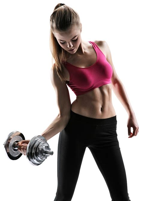 beautiful young fitness woman   dumbbells