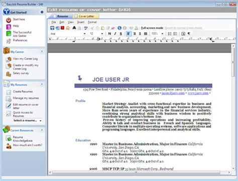 Resume Builder Software by Easyjob Resume Builder Search Business Card Software Pc