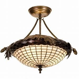 Greenbriar oak semi flushmount ceiling light