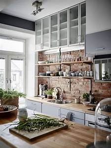 25 best ideas about exposed brick kitchen on pinterest With kitchen cabinet trends 2018 combined with oversized safety pin wall art