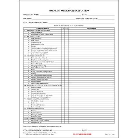 driver evaluation form template forklift operator evaluation form english