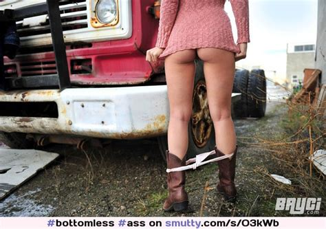 Bottomless Ass Pantiesdown Pantiesaroundankles Standing Outside Outdoors Boots
