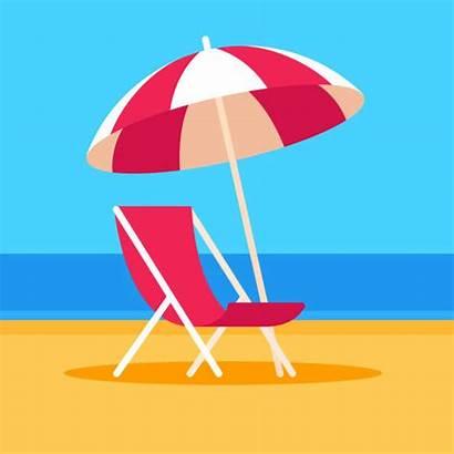 Beach Chair Umbrella Scene Vector Illustration Summer
