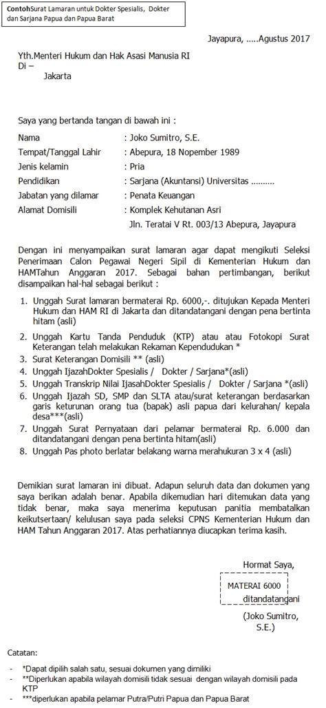 Contoh Surat Lamaran Cpns Kemenkes 2017 by Format Terbaru Contoh Surat Lamaran Cpns Kementerian Hukum