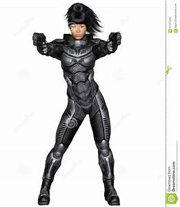 Future Soldier, Asian Female, Standing Stock Illustration ...