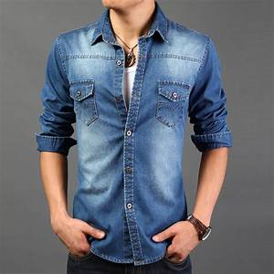 2015 Slim Retro Vintage Denim Shirts Cowboy Cotton Men Shirt Casual Jeans Camisa Water Wash ...