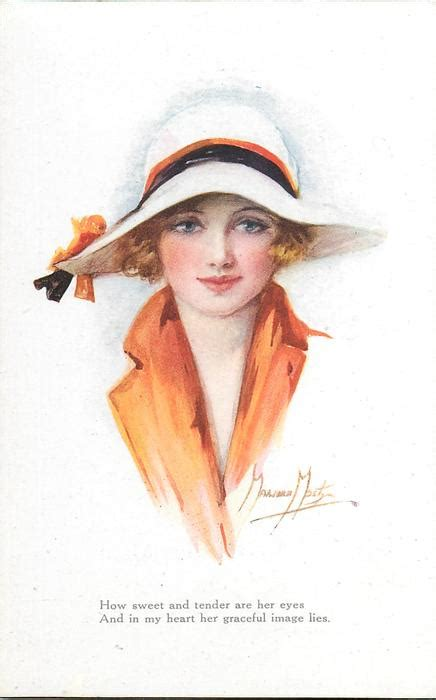 woman  blonde hair  orange dress white hat faces  front tuckdb postcards