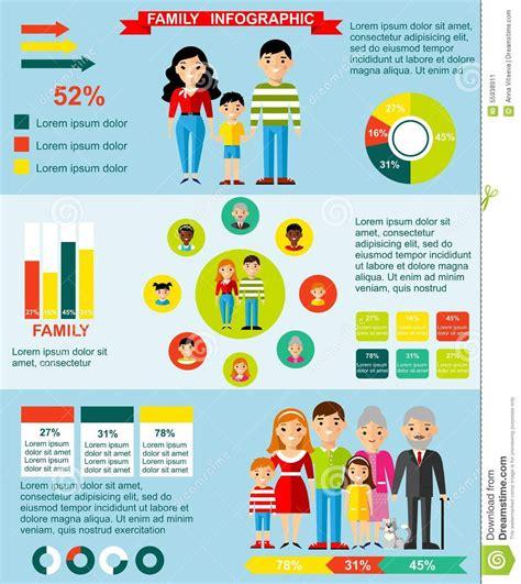 family infographics set  parent children stock vector