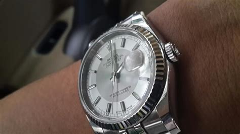 rolex datejust mm red date steel silver dial white