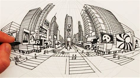 How to Draw in 5-Point Perspective: Times Square New York