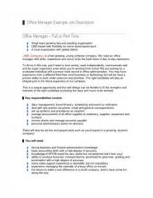 office manager responsibilities for resume office manager description for resume sles of resumes