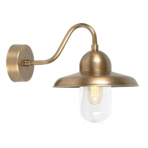 solid brass outdoor wall l swan neck with domed glass