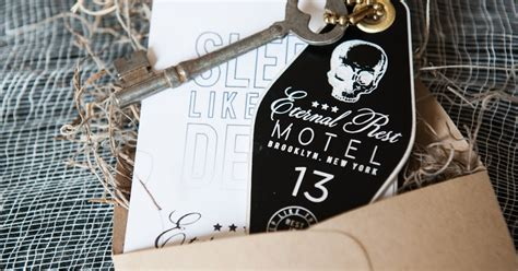 eternal rest hotel key fobs halloween invitations
