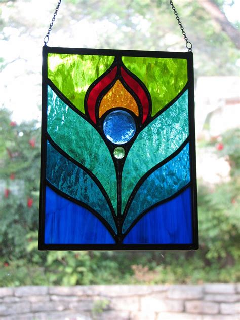 peacock feather stained glass suncatcher  brightmoondesigns