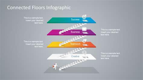 connected floors  steps powerpoint diagram slidemodel