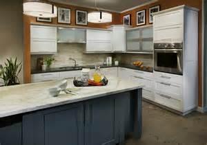 kitchen peninsula ideas dewils white painted craftsman kitchen with blue island