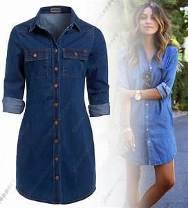 NEW Womens Longline Denim Shirt Dress Ladies Jean Dresses Size 6 8 10 12 14 Blue | eBay