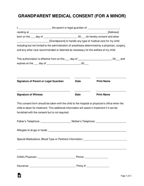 sle medical consent form for grandparents free medical release form for