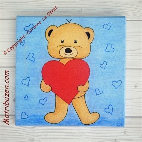 tableau ourson chambre bébé tableau enfant bébé nounours ourson coeur déco murale