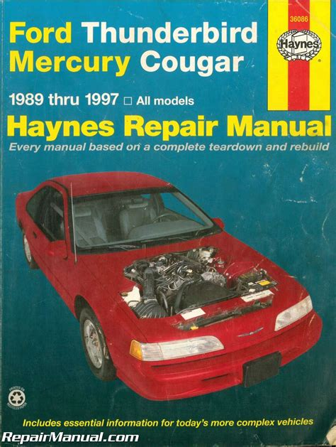 car repair manual download 2006 ford thunderbird electronic toll collection used haynes ford thunderbird mercury cougar 1989 1997 auto repair manual