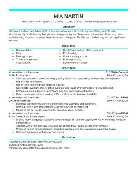 resume sles for executive assistant jobs 16 amazing admin resume exles livecareer