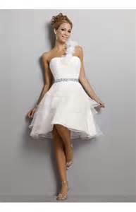 brautkleider kurz ein schulter organza knielange mit blumen hochzeitskleid kurz