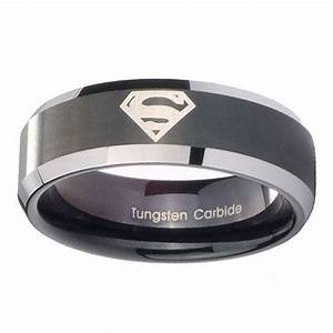 superman tungsten carbide laser black two tone engraved With superman wedding rings