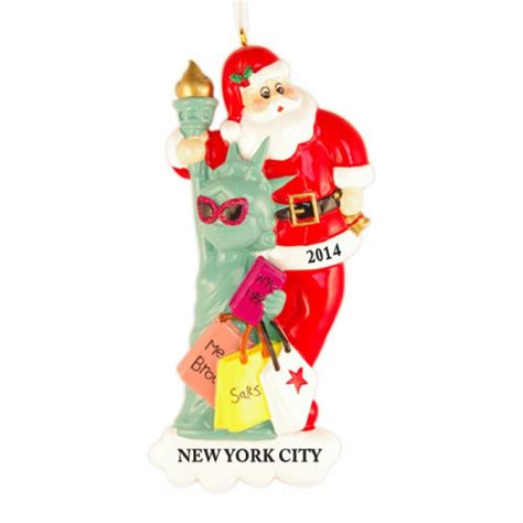 christmas decorations statue of liberty santa with statue of liberty personalized ornament and city