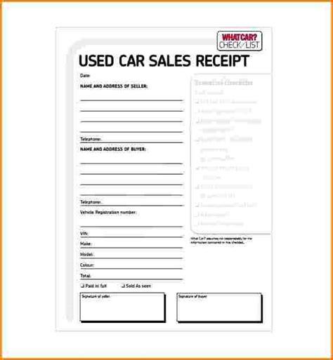 8 receipt for car sale restaurant receipt