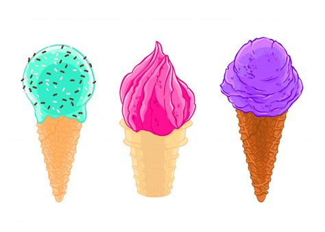 boceto de dibujos animados conjunto de tres conos de