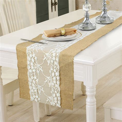 wedding table cloth runners burlap lace hessian table runner wedding party tablecloth