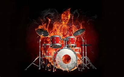 Skeleton Drums Flame 3d Effect Abstract Wallpapers
