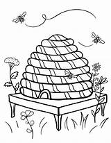 Coloring Bee Beehive Hive Pages Printable Coloringcafe Bumble Sheets Pdf Honey Bees Sheet Nature Clipart Cute Button Prints Standard Below sketch template