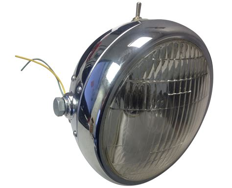 chrome motorcycle headlight 6v with switch hl232ts bmi karts and parts