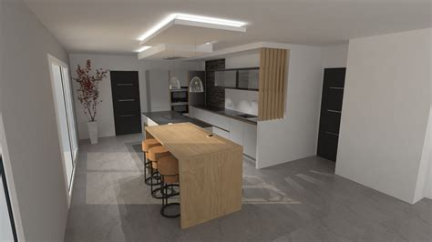 cuisine design avec ilot cuisine design gris clair et bois avec grand îlot et