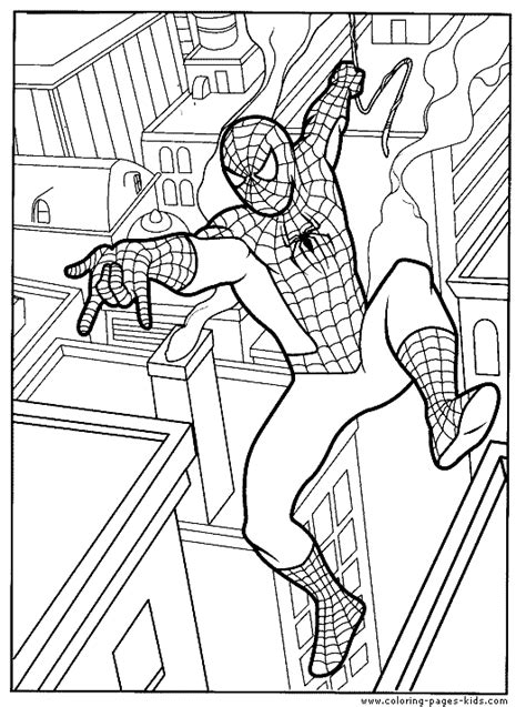 spider man color page cartoon characters coloring pages