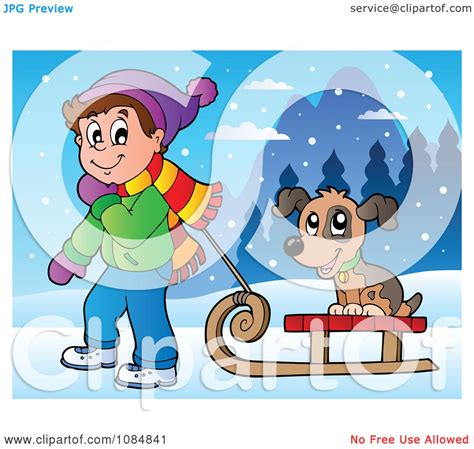 clipart boy pulling  dog   sled   snow royalty  vector illustration