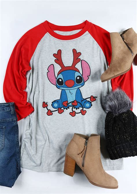 christmas stitch  neck baseball  shirt fairyseason