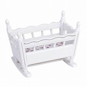 Babybett Weiß Holz : 1 12 puppenhaus miniatur weiss holz kindergarten wiege babybett gy ebay ~ Indierocktalk.com Haus und Dekorationen