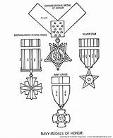 Coloring Honor Pages Memorial Medals Navy Medal Drawing Printable Service Cross Silver Distinguished States United Military Star Sheets Holiday Getdrawings sketch template
