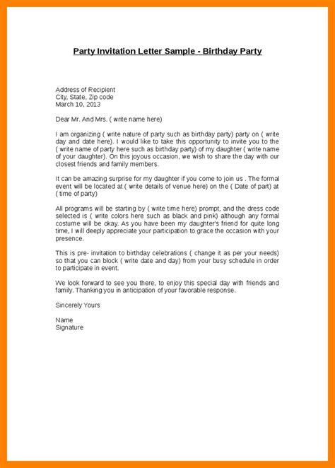 invitation letter   friend   party letters