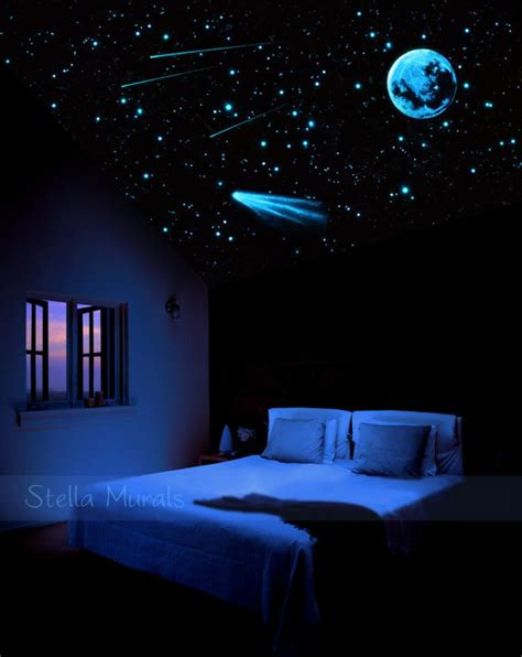 outer space crib bedding comet and glow in the ceiling mural