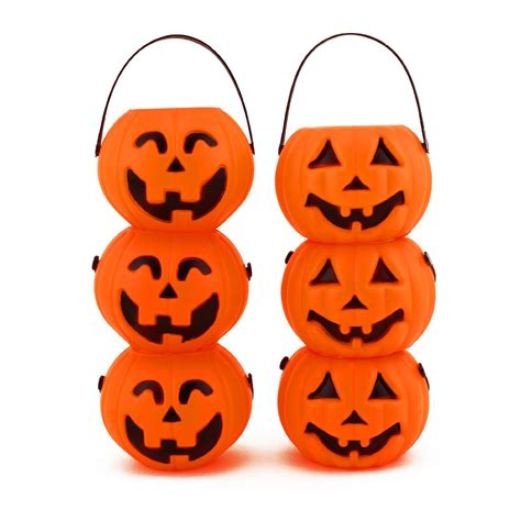mini plastic o lantern pumpkin buckets decor prop ebay