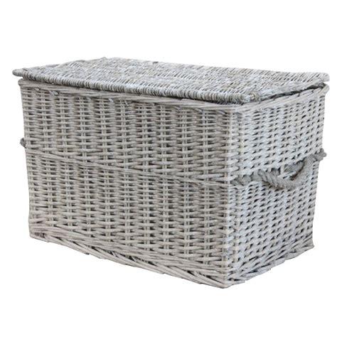 Grey Wash Wicker Storage Trunk / Chest