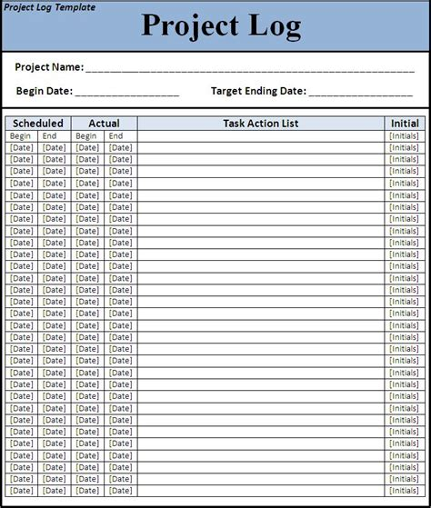 project log template  printable word templates