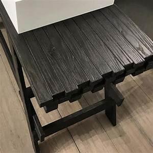 Meuble De Salle De Bain Bois Massif : meuble salle de bain noir bois et vasque 120 cm chlo ~ Edinachiropracticcenter.com Idées de Décoration
