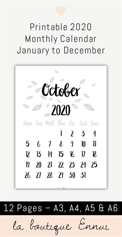 printable  monthly calendar  black  white